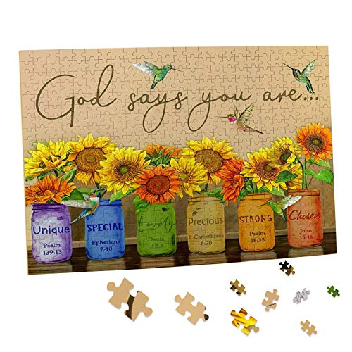 Sunflower Puzzle 500 Piece Puzzles for Adults - Retro Sunflowers and Farmhouse Yellow Flower Hummingbird Animal Inspirational Wooden Jigsaw Puzzles for Family Activities Games - God Says You are