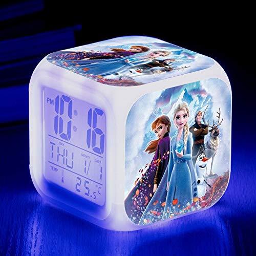 FDGFDG Nuevo Personaje de película Muñeco de Nieve Historia de Amor película Princesa Anna Despertador Digital Cambio de Color LED Mini Reloj niños Dibujos Animados Anime Hielo