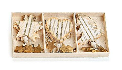 Deko Anhänger Herz Stern Baum im 9-er Set, Holz je 10cm zum Hängen creme gold, Weihnachtsdeko Baumschmuck Fensterschmuck