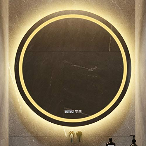 Ronde LED-verlichting badkamerspiegel, HD-oppervlak Che voor explosiebestendige spiegel, wit/warm licht, aanraakschakelaar + klok/temperatuurweergave, φ: 60/70 / 80 cm