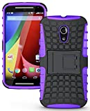 NAKEDCELLPHONE'S Purple Grenade Grip Rugged Skin Hard CASE Cover Stand for Moto-G 2nd GEN 2014 (Moto-G 2nd Generation (2014) Unlocked XT1068)