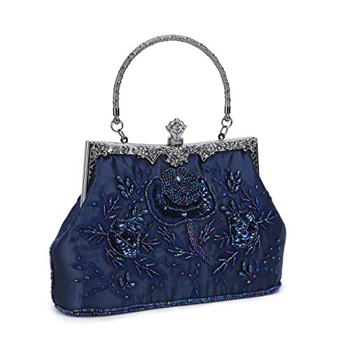 UBORSE Women's Embroidered Beaded Clutch Bag Sequin Evening Navy Blue Large Wedding Party Purse Vintage Bags