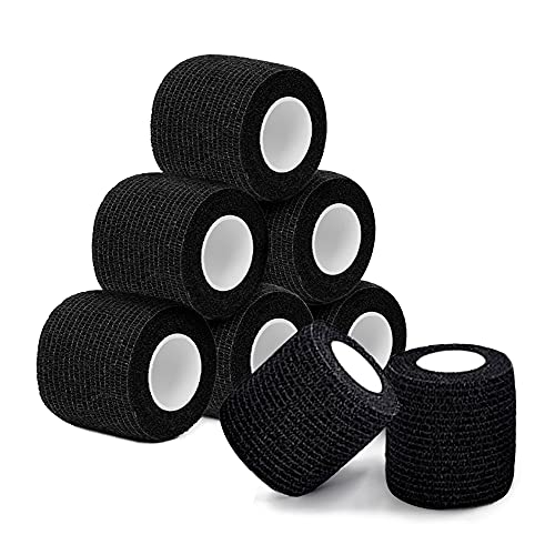 """Tattoo Grip Tape - AIMOM 8Pcs 2"""" x 5 Yards Disposable Tattoo Grip Covers Self Adhesive Tape Elastic Non-Woven Bandage for Tattoo Machine Tattoo Grip Accessories Sports Tape Cover(Black)"""
