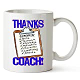 "11 oz. WHITE Glossy STONEWARE Ceramic Mug Two-Sided ""Thanks Coach!"" Clipboard Design (front & back!) Dishwasher and Microwave SAFE & DURABLE #1 Selling SPORTS GIFT Safely Packed & Shipped in 4x4 'Indestructo' BOX! Awesome TEAM Gift --- Your COACHES w..."