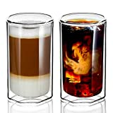ZENS Double Walled Glasses,Unique Octagonal 13.5 Ounce Insulated Glass Cup Set of 2, Clear Borosilicate Coffee Mugs Tumbler for Cappuccino or Latte