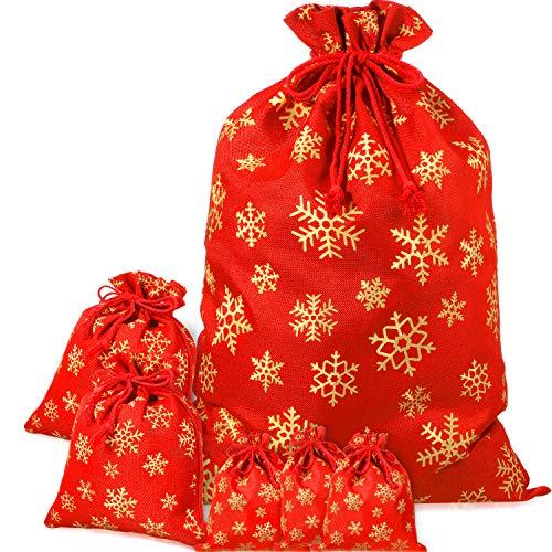 Boao 6 Stücke Weihnachten Kordelzug Weihnachtsmann Taschen mit Roter Kordel, Weihnachtssäcke mit Schneeflockenmuster für Weihnachtsstrümpfe, Geschenketui, Sortierte Größe