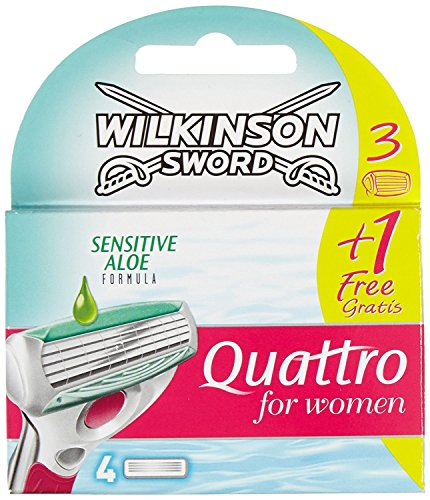Wilkinson Sword Quattro for Women Sensitive Rasierklingen, 3 plus 1 Klinge gratis
