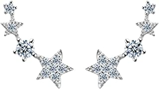 Cute Star Ear Cuff Wrap Climber Earrings for Women Girls Sterling Silver CZ Ears Crawler Studs