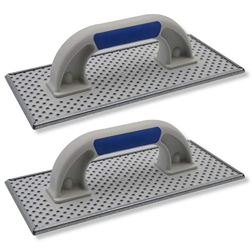 2er Set DEWEPRO® WDVS + Porenbeton Schleifbrett - Raspelbrett mit verzinktem Stahlblech-Raspelbelag - 270x130mm - Egalisierungsbrett - Schleifer - Handschleifer - WDVS-Schleifer