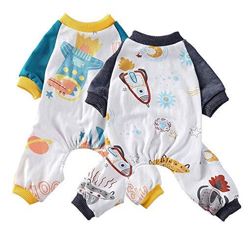 Oncpcare - Juego de 2 pijamas para perro, ropa de noche de algodón suave, acogedora y adorable camisa para mascotas
