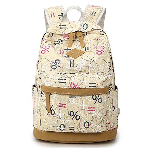 Donykarry Mädchen Schulrucksack Damen Canvas Rucksack Jugendliche Große Schultasche Outdoor Freizeit Daypack mit Mathematische Symbole Muster (Beige)