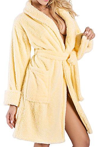 DKaren Damen Bademantel | ELIZA | kurz | Größen XS-2XL | verschiedene Farben | 100% Polyester | M Gelb
