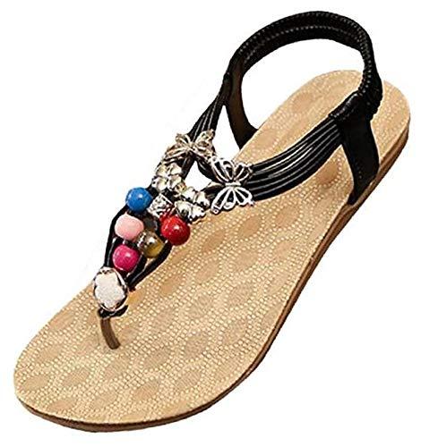 Price comparison product image Women Sandals,  Neartime Summer Bohemia Style Gem Sweet Beaded Sandals Clip Toe Sandals Beach Shoes (US9.5,  Black)