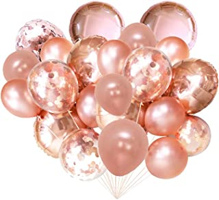 FONBALLOON PARTY Rose Gold Foil Confetti Balloon Bouquet for Wedding, Graduation, Birthday, Bridal Shower(20 PACK)