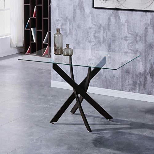 GOLDFAN Esstisch Glas Küchentisch Glastisch Wohnzimmertisch mit Schwarze Beine Moderner Stil Rechteckiger Tisch für Büro Küche 110cm