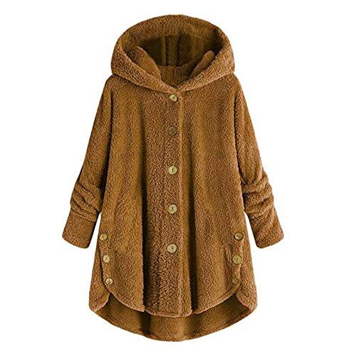 MEIPIQI Chaqueta con capucha para mujer, con botones, patchwork, holgada, cálida, gruesa, de lana, con cordón, túnica, amarillo, XL