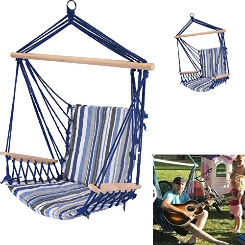 Evokk Blue Hammock Chair Portable Hanging Swing Seat Tree Poly Garden Portable Cotton Travel Camping