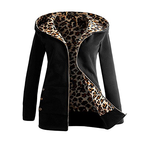Leopard Print Jacket,KIKOY Women Velvet Thicken Warm Hooded Sweater Zipper Coat Black