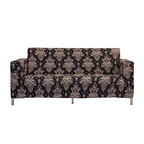 XDKS - Copridivano, 2 pezzi, in tessuto jacquard, protezione per sedie (nero a 3 posti/divano)