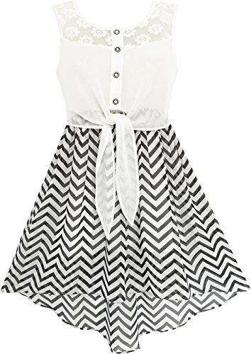 Mädchen Kleid Schnüren Bis Chiffon Gestreift Schwarz Weiß Gebunden Taille Gr.146