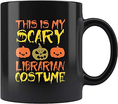 Este es mi disfraz de bibliotecario aterrador, bruja fantasma, Halloween, nios, dulces, truco o trato, taza de maquillaje, taza de caf, taza MUGREEVA