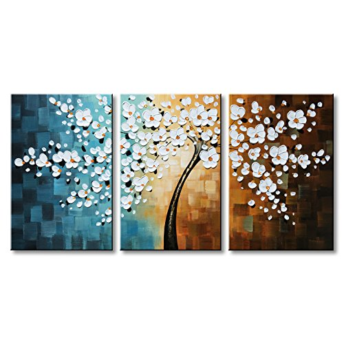 Winpeak Hand-Painted White Flower Oil Painting Modern Floral Canvas Wall Art...
