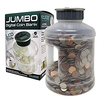 Jumbo Digital Coin Counter Bank - Extra Large Savings Jar for Pennies Nickles Dimes Quarters Half Dollar and Dollar Coins   Clear Jar w/LCD Display