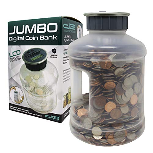 Jumbo Digital Coin Counter Bank - Extra Large Savings Jar for Pennies Nickles Dimes Quarters Half...