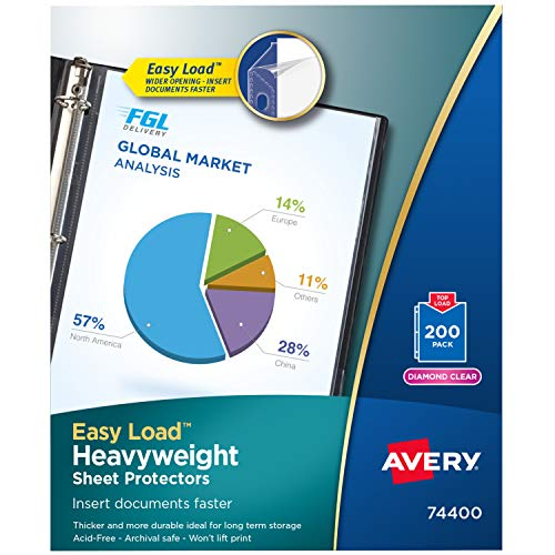 Avery Diamond Clear Heavyweight Sheet Protectors, Easy Load, 200 Document Protectors (74400)