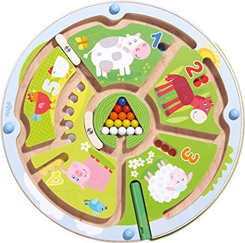 HABA 301473 - Magnetspiel Zahlenlabyrinth |Wunderschön illustriertes Baby- und Kleinkindspielzeug ab 2 Jahren| Lernspiel aus Holz