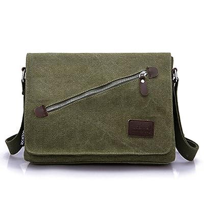 Sac Messenger, Aidonger Vintage Sac d'épaule Unisexe Sac en Toile et Cuir Sac Bandoulière Sacoche Besace Sac à Main Messenger Bag 39*12*30 cm