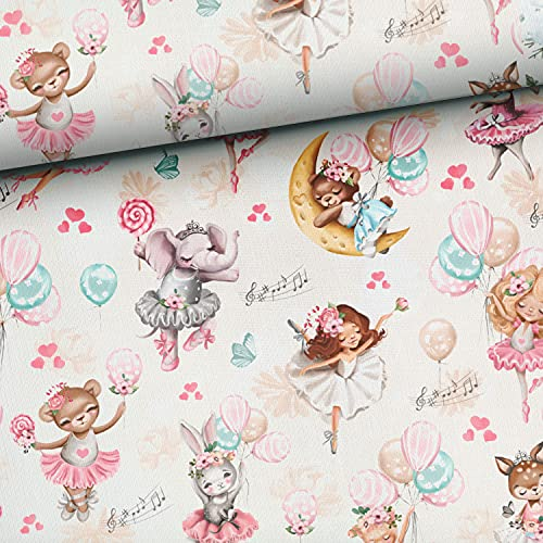 Tela de algodón de 0,5 m con niñas y animales, precortada, tela para niños