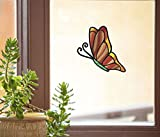 Butterfly D1 - Stained Glass Style See-Through Vinyl Window Decal | Yadda-Yadda Design Co. (4.75'w x 6'h) (Med, Orange)