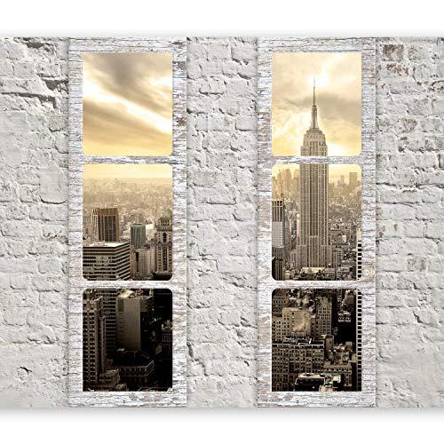 murando Fototapete Fenster nach New York 350x256 cm Vlies Tapeten Wandtapete XXL Moderne Wanddeko Design Wand Dekoration Wohnzimmer Schlafzimmer Büro Flur Stadt City Skyline Manhattan c-A-0066-a-b