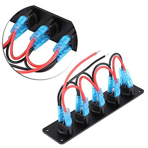 Panel de interruptores para barcos, Panel de interruptores de palanca de 5 unidades, Interruptores de luz única LED, para caravanas