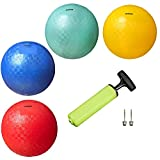 New Bounce Playground Balls for Kids - Set of 4 Rubber Bouncing Balls Plus Pump & 2 pins - Regulation Size for Dodgeball and More - Durable, Inflatable 8.5' Game Ball