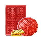 Febbya Moule à Gaufres, Silicone Gaufrier 2 Paquet Antiadhésive Moule à Biscuit Set pour Enfants Muffins Gâteau Choclate Cuisine Outils Rectangulaire et Coeur Forme Rouge