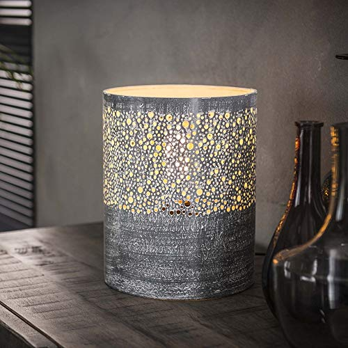 Beauty.Scouts Tischlampe Lampe Seegaard Zylinderform Betonoptik 20x20x25cm (B/T/H) Tischleuchte Wohnzimmerlampe Wohnzimmerleuchte Anrichte Kommode