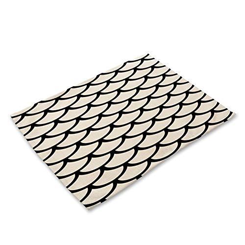 LDGR 1Pcs Geometrischer Buchstabe Muster Tischset Esstisch Matten Untersetzer Baumwollleinenkissen 42 * 32cm Küchenzubehör (Color : B)