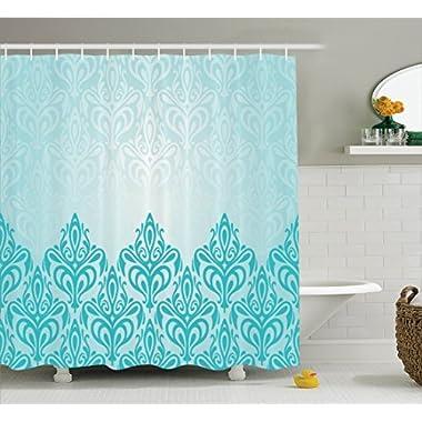 Ambesonne Turquoise Decor Shower Curtain Set, Decorative Retro Medieval European Victorian Gradient Royal Pale Patterns Artwork Print, Bathroom Accessories, 69W X 70L Inches, Blue