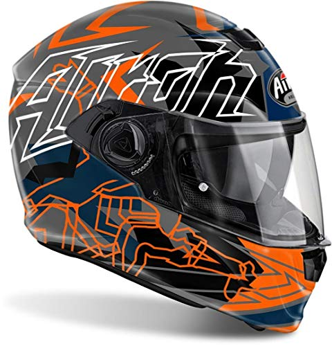 AIROH INTEGRAL HELM Motorradhelm STORM BIONIKLE ORANGE GLOSS XL