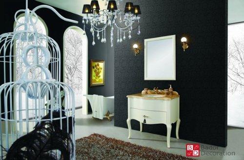 Designwaschtisch Luxus Waschtisch Marmor Badmöbel Badezimmer 90x83x56 Weiß NEU