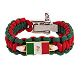 Mexico Rectangle Country Flag Paracord Bracelet - Adjustable Size Mexican (Paracord)