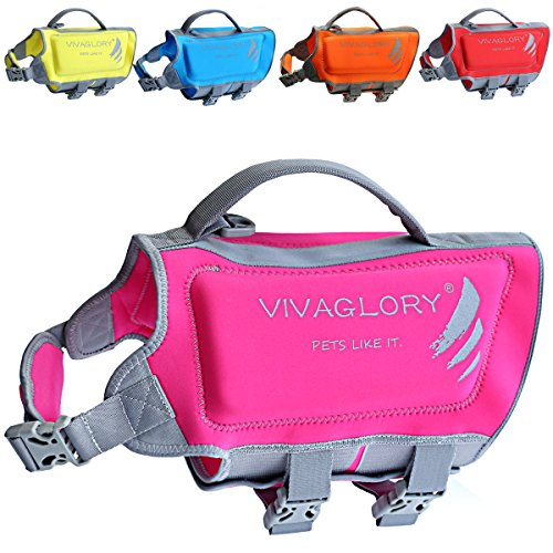 VIVAGLORY Dog Life Jackets Neoprene Dog Life Vest