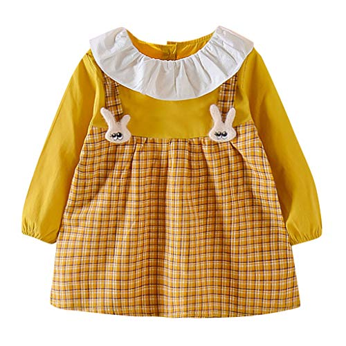 FEIXIANG Kleinkind Mädchen Prinzessin Kleid Neugeborenes Baby Langarm Revers Plaid Gedruckte A-Linie Minikleid Kinder Casual Outfit