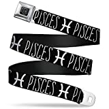 Buckle-Down Seatbelt Belt - Zodiac PISCES/Symbol Black/White - 1.0' Wide - 20-36 Inches in Length