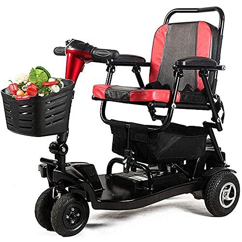 WXDP Patinete portátil autopropulsado de la movilidad, scooter eléctrico motorizado para los ancianos, los rodillos del viajero 4 ruedas con el asiento, cestas