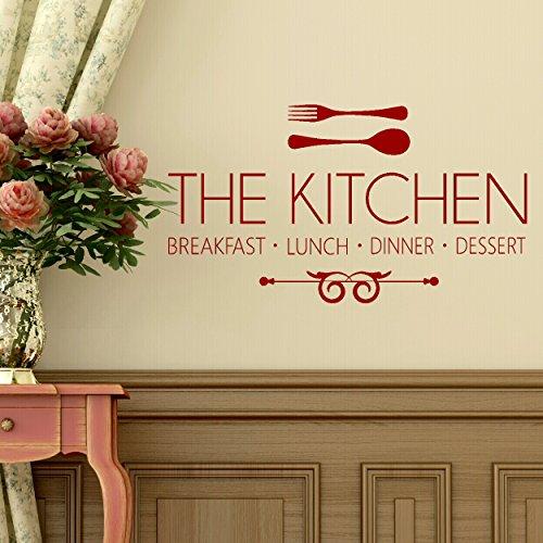 LaoGraphics Pegatinas de pared para cocina, desayuno, almuerzo, cena y postre de cocina, con frase en inglés 'The Kitchen, desayuno, almuerzo, cena y postre