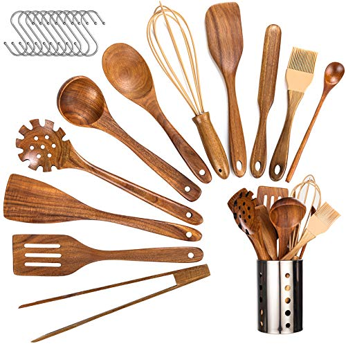 Wooden Utensils for Cooking,12 Pcs Wooden Spoons for Cooking,Teak Wooden Utensils Set, Wood Kitchen Utensils for Nonstick Pan, Wood Spatula Spoon Nonstick Kitchen Utensil Set with Holder (12)