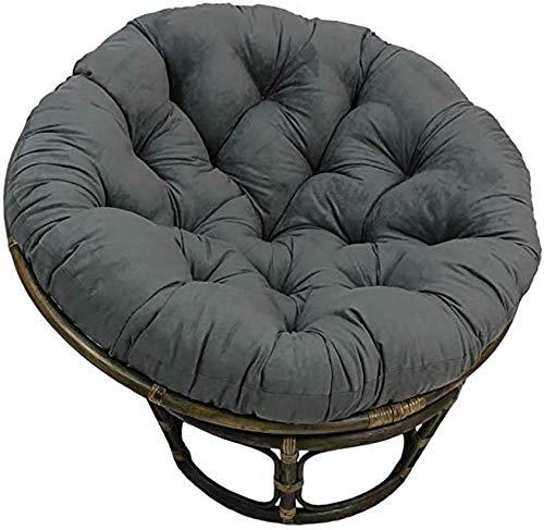 Almohadilla de asiento redonda Papasan, almohadilla de asiento de huevo colgante extraíble D110cm (43.3in) para cojines de mecedora de jardín de patio, gris 110cm (43 pulgadas)-gris_120 cm (47 pul